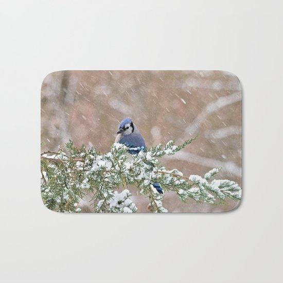 Winter Has Arrived (Blue Jay) Bath Mat