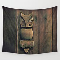 wooden Wall Tapestries featuring Wooden Owl by Dorothy Pinder