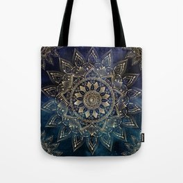 Elegant Gold Mandala Blue Galaxy Design Tote Bag