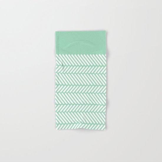 Herringbone Mint Boarder Hand & Bath Towel