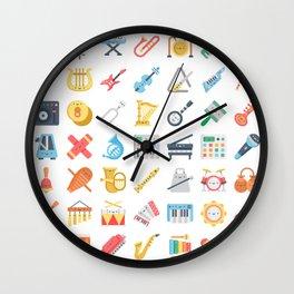 CUTE MUSICAL INSTRUMENTS PATTERN Wall Clock