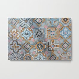 Mallorcan tiles in flower patterns Metal Print
