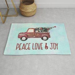 Vintage Toy Truck Peace Love & Joy Rug