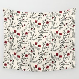 Red Flower Pattern Wall Tapestry