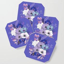 Anemones & Gardenia Blue bouquet Coaster