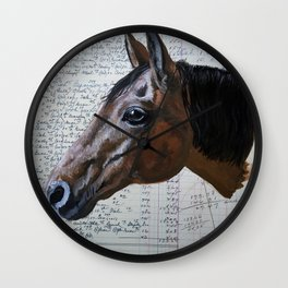 Eddy the Horse in Gouache Wall Clock