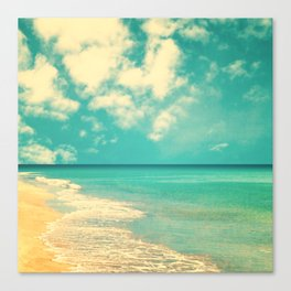 Retro beach and turquoise sky (square) Canvas Print