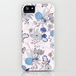 Abstract rustic navy blue gray floral pink stripes pattern iPhone Case