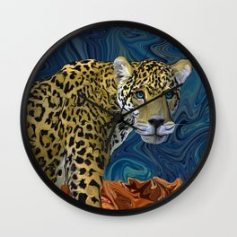 Leopard with the Sky in His Eyes Wall Clock