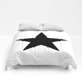 Single black star on white Comforters