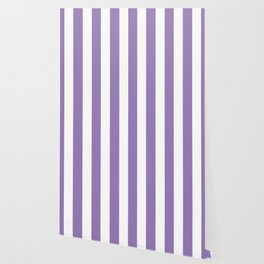 Lavender purple - solid color - white vertical lines pattern Wallpaper