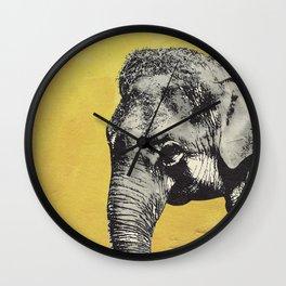 Elephant on yellow Wall Clock