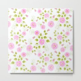 Pink flowers on a white background Metal Print