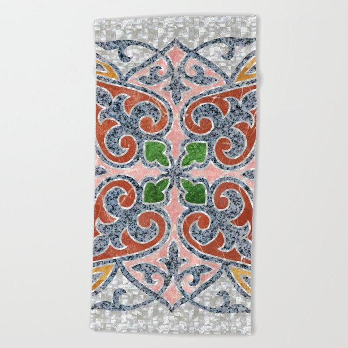 Blue Oriental Tile 03 Beach Towel