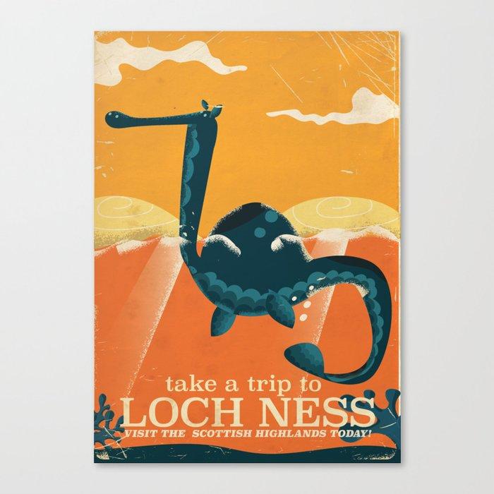 Loch ness Scotland highlands vintage travel cartoon, Canvas Print