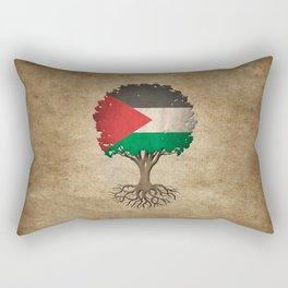 Vintage Tree of Life with Flag of Palestine Rectangular Pillow