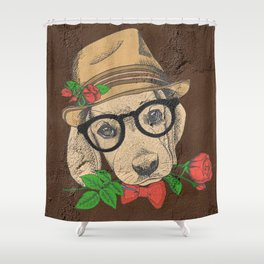 Cute Hipster Pup Shower Curtain