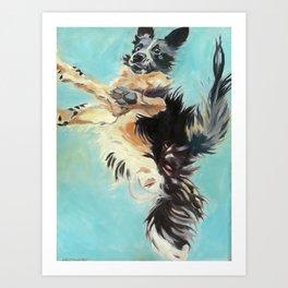 Let's Fly Border Collie Dog Portrait Art Print