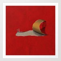 snail Art Prints featuring snail by gazonula
