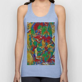 3334s-SRC Abstract Woman with Blue Eyes Rendered in Color and Style Unisex Tank Top