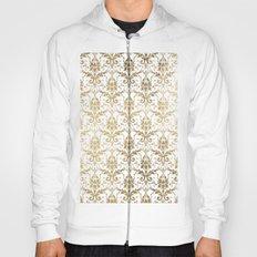 Elegant vintage white faux gold floral boutique damask Hoody