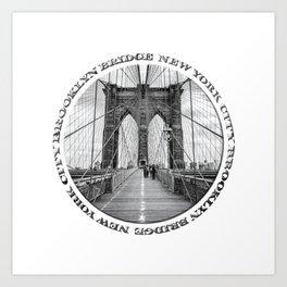 Brooklyn Bridge New York City (black & white badge emblem) Art Print