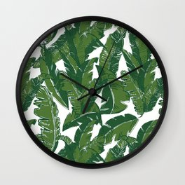 Leaves Bananique in White Shell Wall Clock