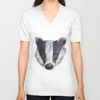 badger V-neck T-shirts featuring Badger! by Alison Jacobs
