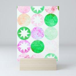 Grunge Pink & Green Dots with Star Bursts Mini Art Print