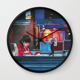 Girl in a Cafe Wall Clock