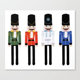 Christmas Nutcracker Soldiers Winter Pattern in Navy Canvas Print