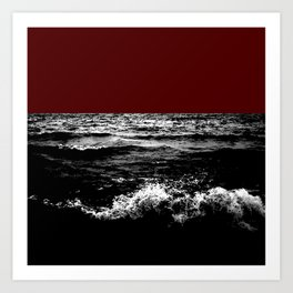 Black Wave w/Dark Red Horizon Art Print