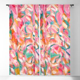 floral abstract in pink, turquoise, orange, and yellow ochre: summer arrives Blackout Curtain