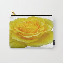 Beautiful Yellow Rose Closeup Isolated on White Carry-All Pouch