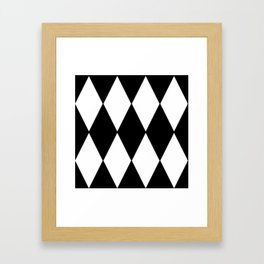 LARGE BLACK AND WHITE HARLEQUIN DIAMOND PATTERN Framed Art Print