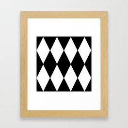 LARGE BLACK AND WHITE HARLEQUIN DIAMOND PATTERN Framed Art Print