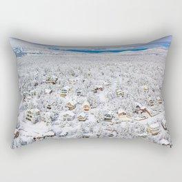 Winter Wonderland Big Bear Arrowhead Snow Mountains Cabin Drone Aerial Shot Wall Art  Rectangular Pillow