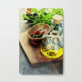 fresh  herbs, olive oil and vegetables on cutting board Metal Print
