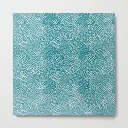 Abstract Brush Strokes, teal Metal Print