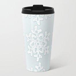 Crocheted Snowflake Ornaments on teal mist Travel Mug