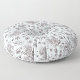 Pine Cones and Pine Branches Pattern (Light Blue and Sepia) Floor Pillow