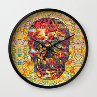 ashton irwin Wall Clocks featuring Ticket to Ride (1R) by Wayne Edson Bryan
