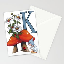 Initial Letter K, Toadstools, Gnome Girl with Ladybug and Daisies Stationery Cards