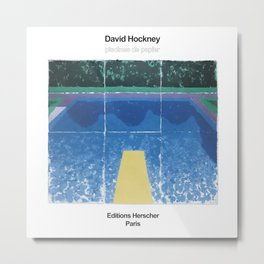 "David Hockney Exhibition Art Poster - ""PISCINES DE PAPIER"" Metal Print"