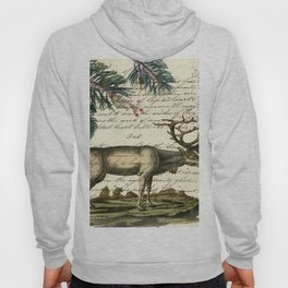 western country primitive christmas mountain animal wildlife winter pine tree elk Hoody