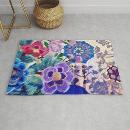 Japanese Vintage Floral Textile Pattern Rug
