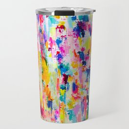Bright Colorful Abstract Painting in Neons and Pastels Travel Mug