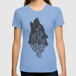 Adventure Wolf - Nature Mountains Wolves Howling Design Black on Turquoise Blue T-shirt