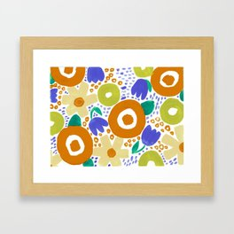 Bold Abstract Floral Inspired Pattern (Harvest Colors) Framed Art Print