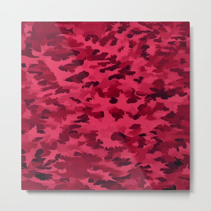 Foliage Abstract Pop Art Blush Red Metal Print